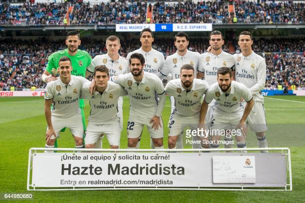 The Real Madrid team poses for a photo before the match Real Madrid vs RCD Espanyol a La Liga match at the Santiago Bernabeu Stadium on 18 February...