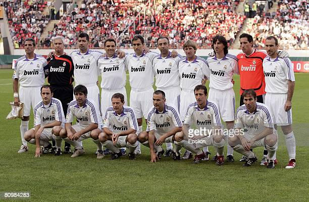 The Real Madrid XI line up prior to Dmitry Alenichev's farewell game between FC Spartak Moscow and a Real Madrid XI in the Cherkizovo stadium on May...