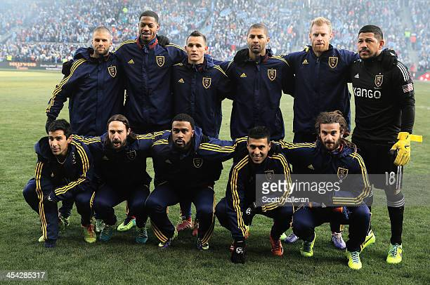 The Real Salt Lake team poses on the pitch before of the start of the game against Sporting Kansas City in the 2013 MLS Cup at Sporting Park on...