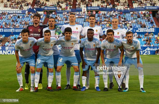The Real Zaragoza team line up for a photo prior to kick off during the friendly match between Real Zaragoza and Levante UD at La Romareda on August...