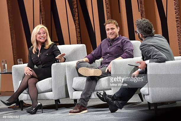 "The RealReal Founder and CEO Julie Wainwright, Slack Co-founder and CEO Stewart Butterfield and New York Times' Nick Bilton speak onstage during ""Are..."
