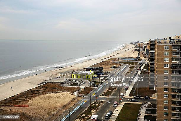 The reamains of the Rockaway boardwalk, damaged in Hurricane Sandy nearly one year ago, is viewed on October 19, 2013 in the in Rockaway neighborhood...