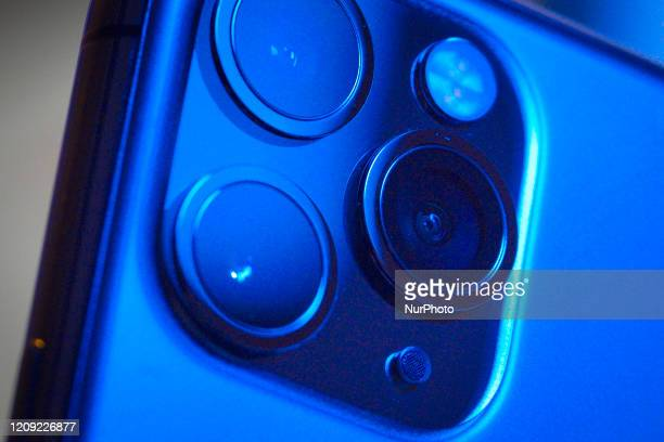 The rear camera module is seen on an iPhone 11 Pro Max in this illustration photo in Warsaw Poland on April 4 2020