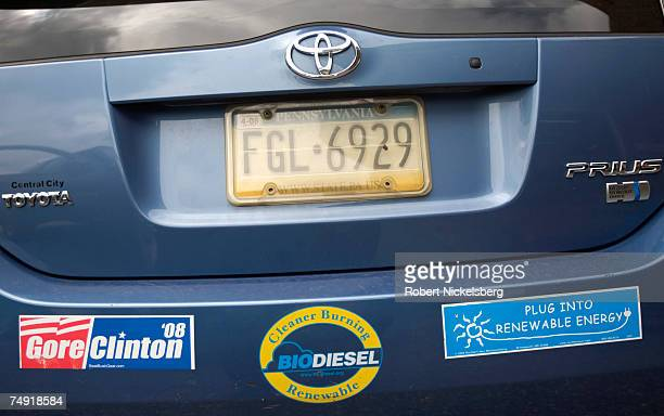 The rear car bumper of Philadelphia FryoDiesel's president's Toyota Prius shows the growing popularity for renewable fuels June 15 2007 in...