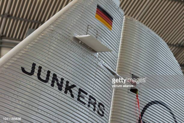 The rear end of a historic Junkers Ju 52 aircraft in a hangar in Hamburg Germany 6 April 2017 The plane known colloquially as Aunt Ju is celebrating...