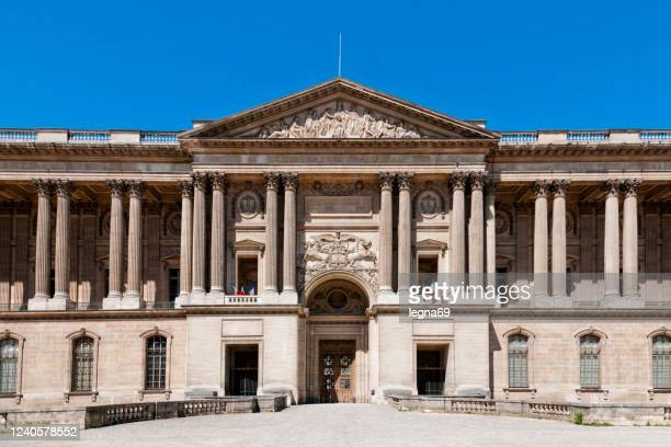 the rear entrance of the louvre museum in paris - cour carree stock pictures, royalty-free photos & images