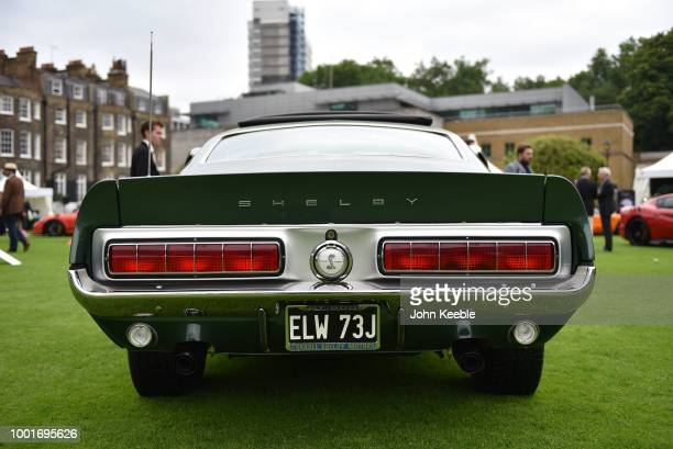 The rear of a Ford Mustang Shelby Cobra GT 500 on display at the London Concours at the Honourable Artillery Company on June 7, 2018 in London,...