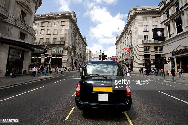 The rear of a London Cab.