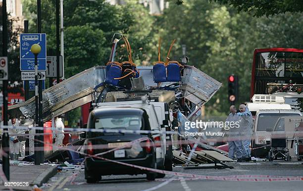 The rear of the bus that was destroyed by an explosion in Russell Square during a series of explosions which ripped through London's Underground...