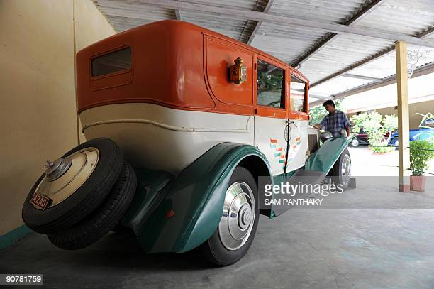 The rear view of a Phantom class LimousineRolls Royce of 1926 at 'Auto World' car museum in Kathwada some 20kms from Ahmedabad on August 26 2009 This...