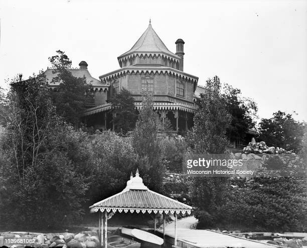 The rear view of the Ceylon Building which was from the World's Columbian Exposition in Chicago Lake Geneva Wisconsin 1893 The building was later...