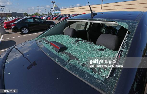 The rear window was shattered on a new Chevy Cruze at Suburban Chevy where every single car were hail damaged at the Chevy store and nearby...