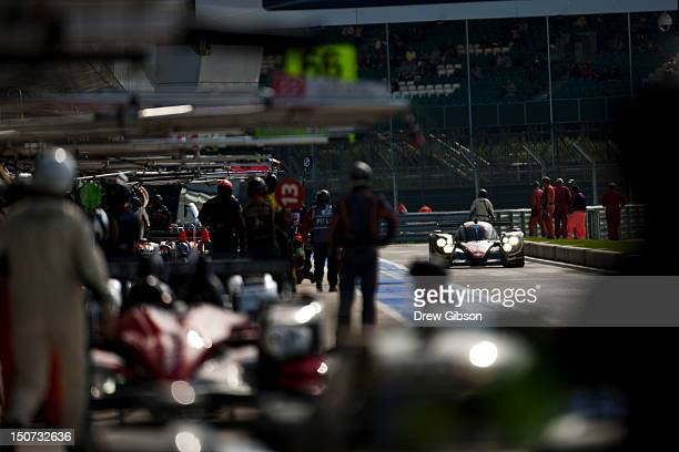 The Rebellion Racing Lola B12/60 Coupe Toyota driven by Andrea Belicchi of Italy and Harold Primat of Switzerland in the pit lane during the 2012 FIA...