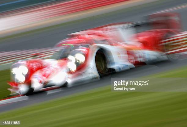 The Rebellion Racing Lola B12/60 Toyota LMP1 driven by Nicolas Prost of France Nick Heidfeld of Germany and Mathias Beche of Switzerland during...