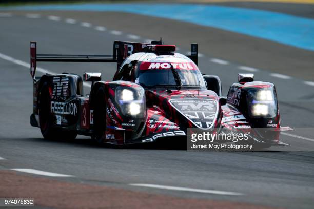 The Rebellion Racing R13 of Mathias Beche Thomas Laurent and Gustavo Menezes drives during Practice for the Le Mans 24 Hour Race on June 13 2018 in...
