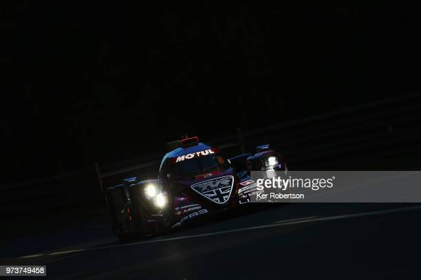 The Rebellion Racing R13 of Thomas Laurent Mathias Beche and Gustavo Menezes drives during practice for the Le Mans 24 Hour race at the Circuit de la...
