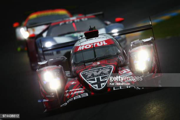 The Rebellion Racing R13 of Thomas Laurent, Mathias Beche and Gustavo Menezes drives during qualifying for the Le Mans 24 Hour race at the Circuit de...