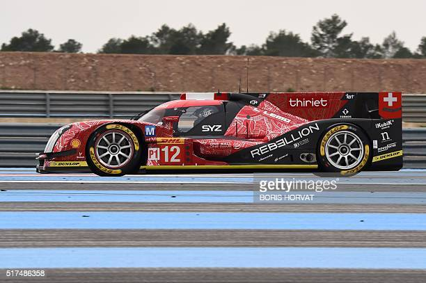 """The Rebellion R-One N°12 from Swiss team """"Rebellion Racing"""" driven by French Nicolas Prost, and Brazil's Nelson Piquet Jr, take part in a training..."""