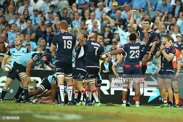 The Rebels celebrate victory during the round six Super Rugby match between the New South Wales Waratahs and the Melbourne Rebels at Allianz Stadium...