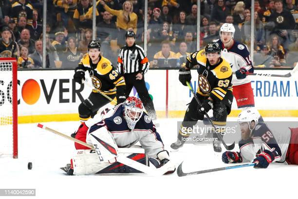 The rebound squirts away from Columbus Blue Jackets goalie Sergei Bobrovsky during Game 2 of the Second Round 2019 Stanley Cup Playoffs between the...