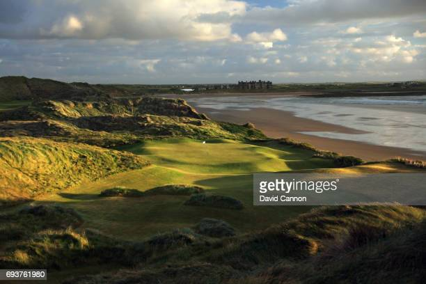 The rebuilt 138 yards par 3, 14th hole designed by Martin Hawtree at the Trump International Golf Links Doonbeg on June 5, 2017 in Doonbeg, County...