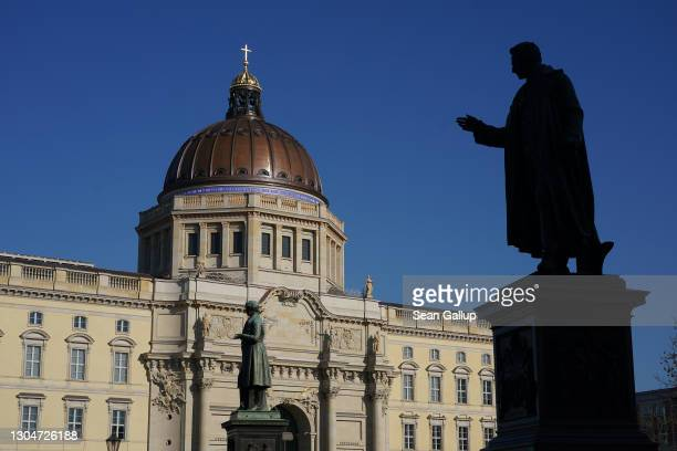 The rebuilt Berlin Palace , which houses the Humboldt Forum, stands during the coronavirus pandemic on March 1, 2021 in Berlin, Germany. The Humboldt...