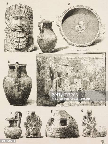 1 the foot of a table in white marble 246 Egyptian vase 3 a painted plate 5 the quarter lately excavated 789 a waterjug and decorative items Italy...