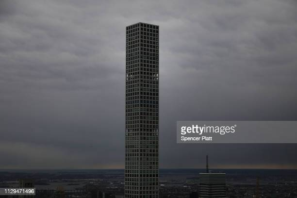 The recently built 432 Park Avenue the tallest residential building in the world stands in Manhattan on February 13 2019 in New York City Newly built...