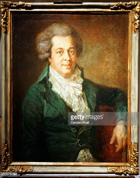 The recently discovered Wolfgang Amadeus Mozart portrait by the artist Johann Georg Edlinger at the cultural forum of the Gemaeldegalerie on January...