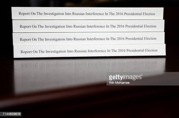 The recently released Mueller Report is shown April 24 2019 in Washington DC In response to news from then Attorney General Jeff Sessions that Robert...