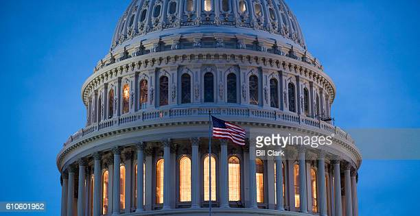 The recently restored US Capitol dome is lit by lights in Washington on Monday evening Sept 26 2016