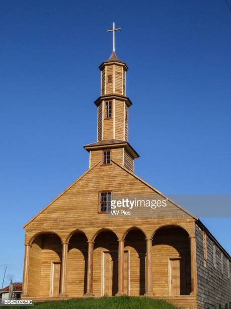The recentlyrestored wooden Church of Vilupulli The wooden churches of the Chiloe Archipelago in the Los Lagos Region Region X Chiloe Province Chile...