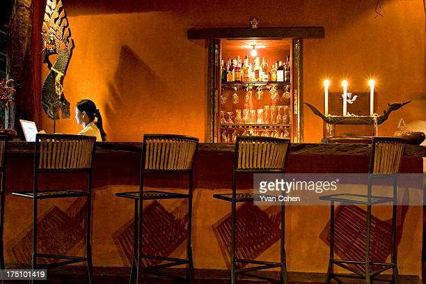 The reception and bar at a resort in Chiang Rai, Thailand..