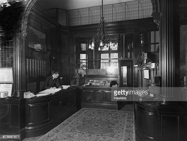 The reception area and cashier's desk at the Hyde Park Hotel in Knightsbridge London 22nd April 1925