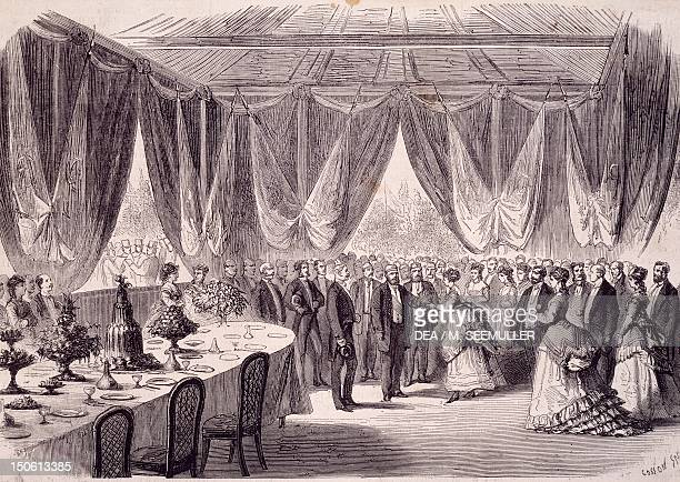 The reception ceremony at Ismailia in honor of the viceroy of Egypt to mark the opening of the Suez Canal release Egypt 19th century