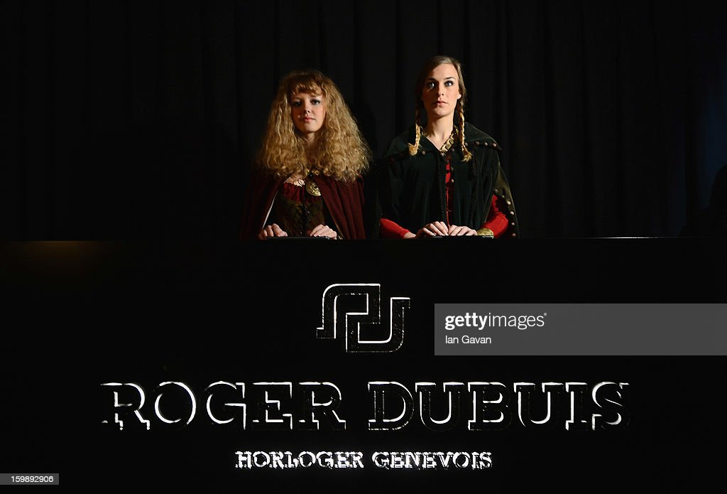 The reception desk for the Roger Dubuis Excalibur Dinner is pictured during the 23rd Salon International de la Haute Horlogerie at Caves des Vollandes on January 21, 2013 in Geneva, Switzerland.
