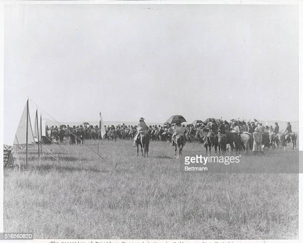 The reception of President Chester A Arthur by Indians at Fort Washakie Wyoming Territory