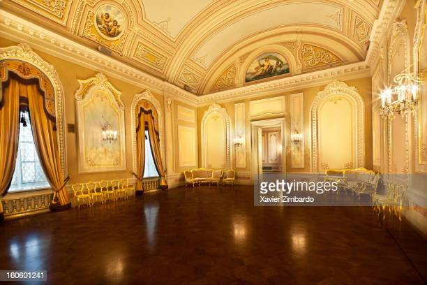 The reception room on the first floor and the exposition room in the background inside the Bolshoi Ballet theater on September 26, 2011 in Moscow,...