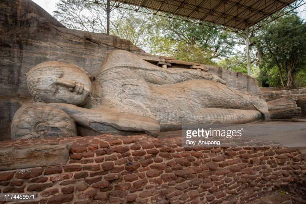 the reclining buddha is 14 m long, picturing buddha entering nirvana at gal vihara in ancient city of polonnaruwa. - nirvana members stock pictures, royalty-free photos & images