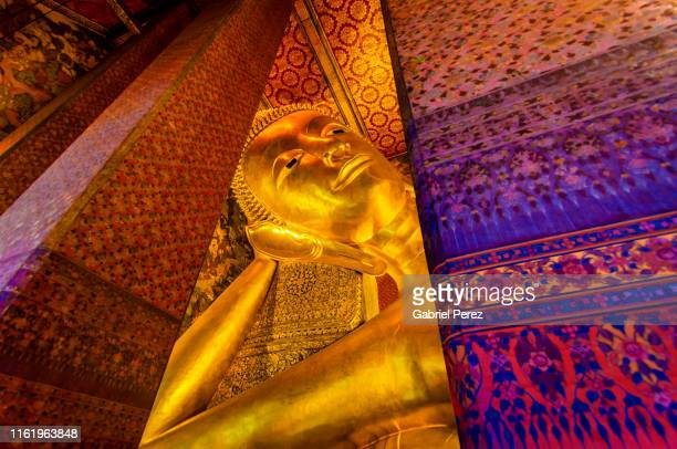the reclining buddha of wat pho - wat pho stock pictures, royalty-free photos & images