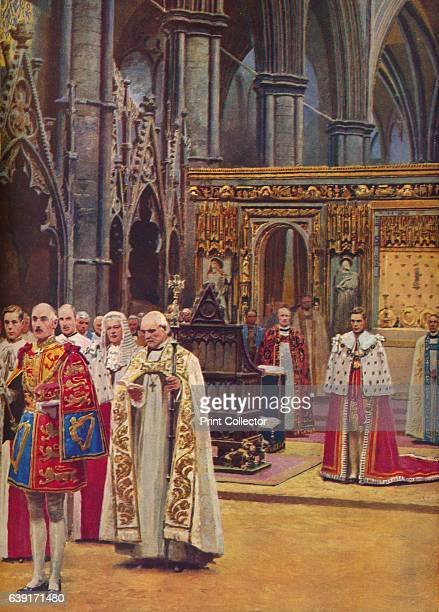 The King Stands Before the Assembly presented by the Archbishop' 1937 King George ascended the throne upon the abdication of his brother King Edward...
