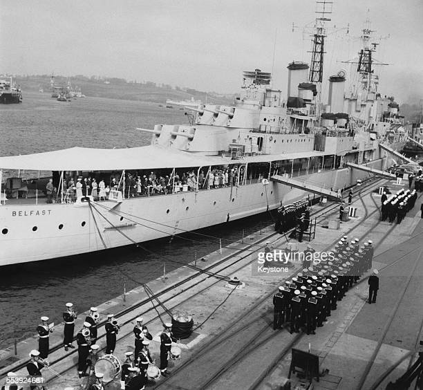 The recommissioning ceremony for the Royal Navy light cruiser, HMS Belfast, taking place at Her Majesty's Naval Base, Devonport, Plymouth, Devon,...