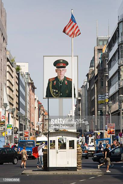The reconstructed American gateway of Checkpoint Charlie at the Checkpoint Charlie Musuem, Berlin, Germany