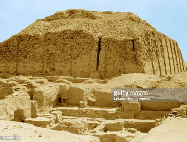 The reconstructed facade of the NeoSumerian Great Ziggurat of Ur near Nasiriya Iraq Ziggurats were built by the Sumerians Babylonians Elamites...