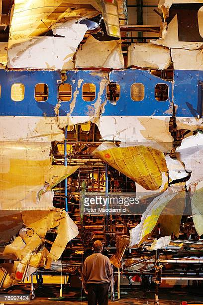 The reconstructed remains of Pan Am flight 103 lie in a warehouse on January 15 2008 in Farnborough England The Air Accident Investigation Branch...
