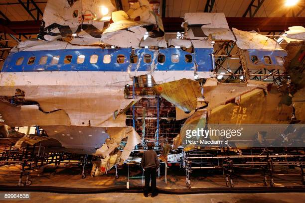 The reconstructed remains of Pan Am flight 103 lie in a warehouse on January 15 2008 in Farnborough England Convicted terrorist Abdelbaset ali...