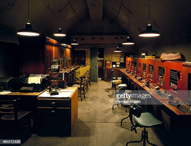 The reconstructed underground telephone and telex exchange beneath Dover Castle, Kent, 1995. From the middle ages onwards, miles of tunnels were...