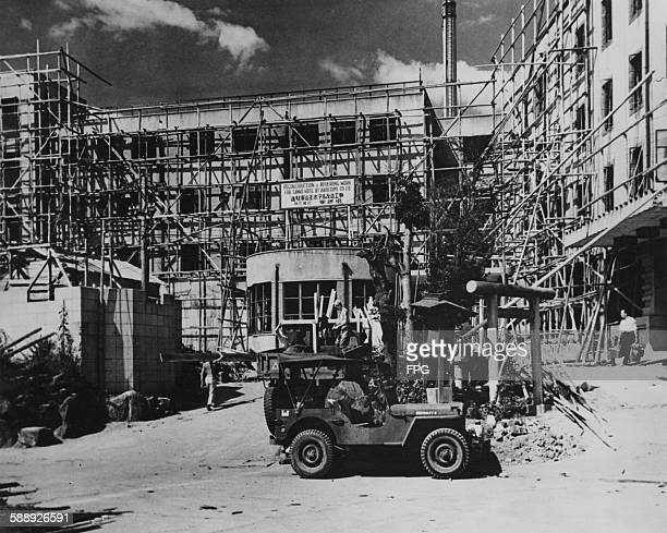 The reconstruction of the Sanno Hotel in Tokyo Japan circa 1947 The hotel was largely destroyed by Allied bombing during World War II and was rebuilt...
