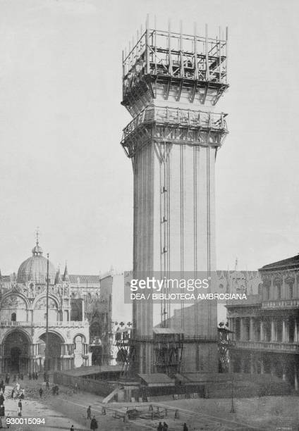 The reconstruction of the St Mark's bell tower in Venice, November 1909, Italy, photo by Tivoli, from L'Illustrazione Italiana, Year XXXVI, No 49,...
