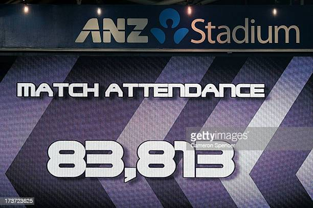 The record match attendance of 83813 is shown on the big screen during game three of the ARL State of Origin series between the New South Wales Blues...
